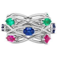 JAG New York Sapphire, Ruby, Emerald Platinum Stackable Rings