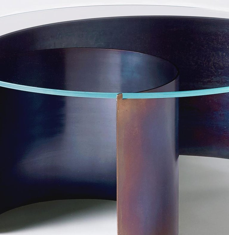 American Wave Coffee Table in Contemporary Heat Tempered Steel and Starfire Glass For Sale
