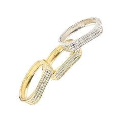 Wave Two Tone Stackable Crystal Bangle Bracelet Set of 3