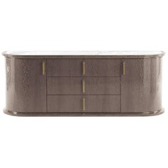 Wave.2 Chest of Drawers with Doors in Carbalho & Marble Top by Roberto Cavalli