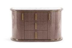 Wave.2 Small Chest of Drawers with Doors in Wood & Marble Top by Roberto Cavalli