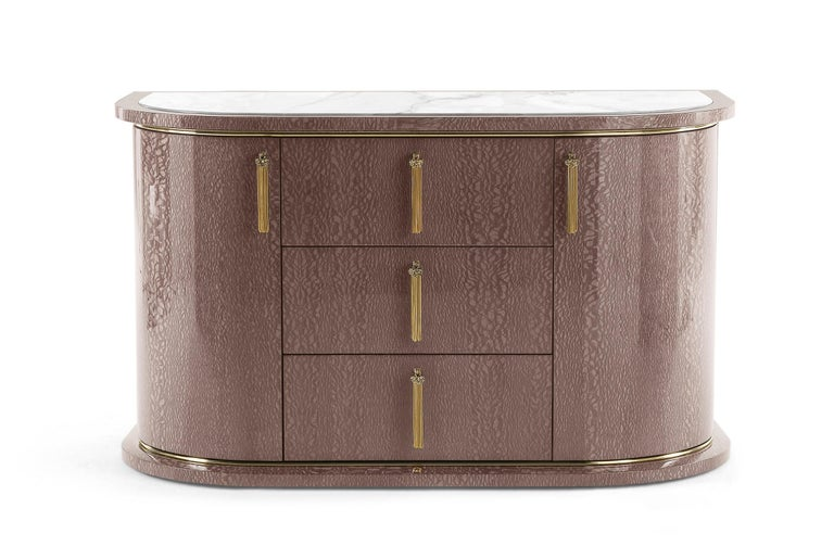 Wave.2 Small Chest of Drawers with Doors in Wood & Marble Top by Roberto Cavalli For Sale