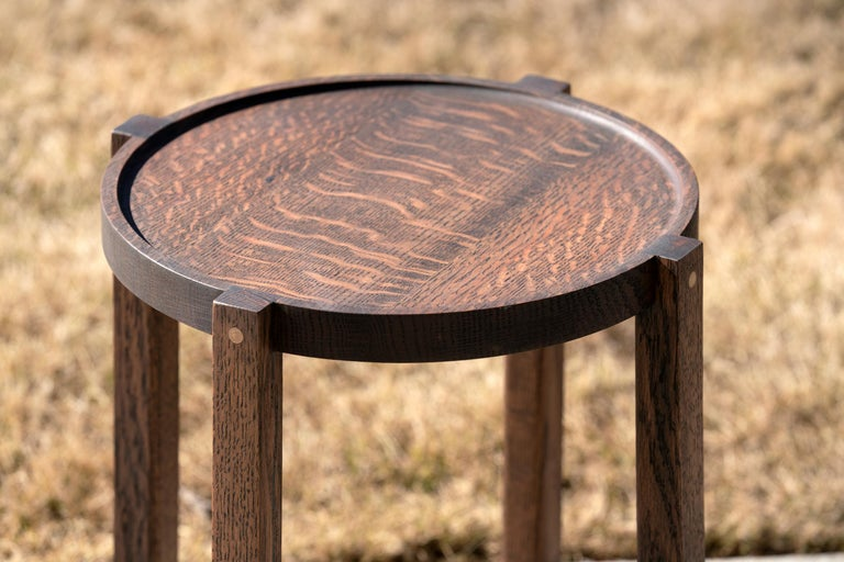 We call this Round Side Table Black Oak with Brass Details the Waverly table. This table is made of the finest repurposed urban timber and is so versatile. Sturdy yet lightweight, the Waverly can be easily moved around as a martini table or place to