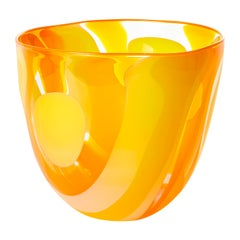 Waves in Yellow and Orange, a Unique Glass Bowl / Centrepiece by Neil Wilkin