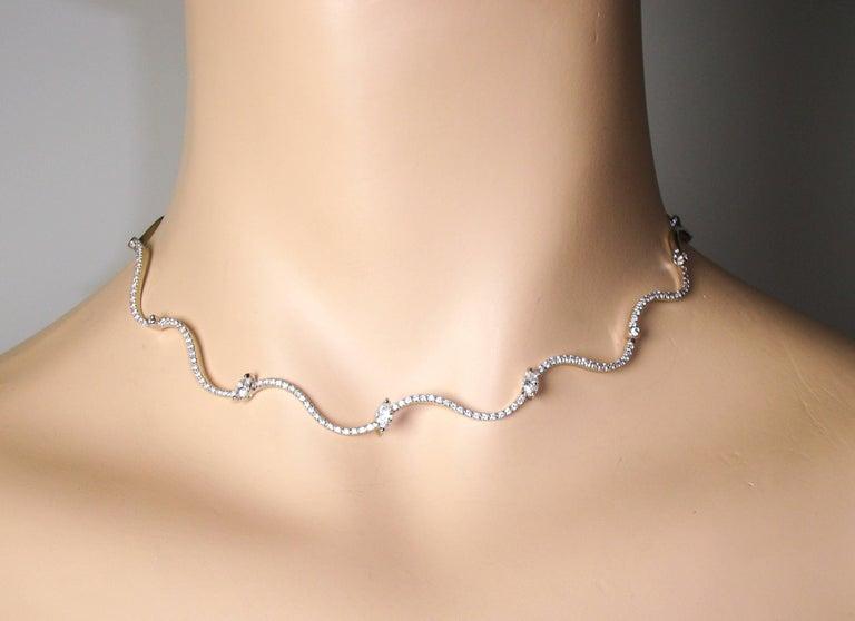 Wavy Diamond White Gold Chocker Necklace For Sale 1