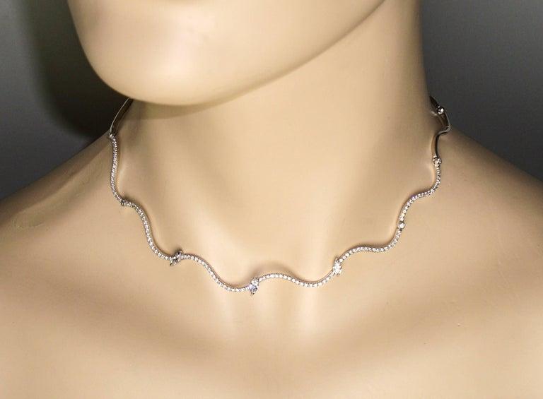 Wavy Diamond White Gold Chocker Necklace For Sale 2