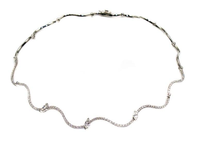 Wavy Diamond White Gold Chocker Necklace For Sale 3