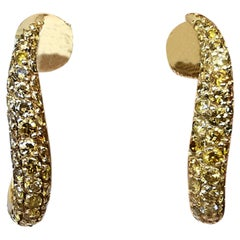 Wavy Earrings Paved with Yellow Diamonds in 18 Karat Gold by Marion Jeantet