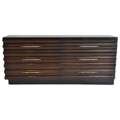 Sculpted Wood Wavy Front Dresser Cabinet Chest by Tommi Parzinger