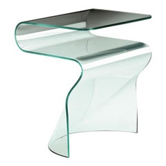 Wavy Glass Side Table Casted in One Slab of Curved Clear Glass