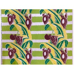 Wavy Green Striped Barkcloth with Tropical Banana Leaf Pattern