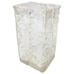 Wavy Textured Clear Glass Vase by Girandi, 1960s