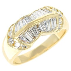 Wavy Two-Row Diamond Baguette Ring with Round Diamonds, 18 Karat Yellow Gold