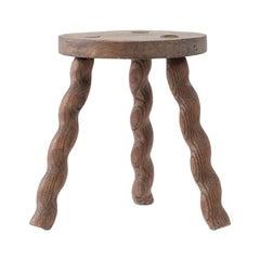Wavy Wooden Legged Stool