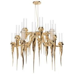 Wax Chandelier in Brass & Crystal Glass