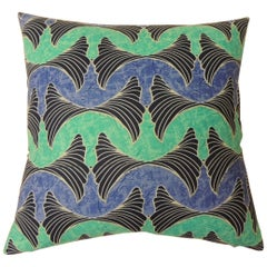 "African Waxed Cotton Blue and Aqua ""Ocean"" Pair of Decorative Pillows"