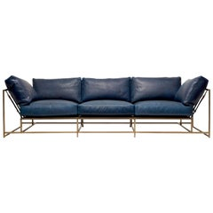 Waxed Navy Leather and Antique Brass Sofa