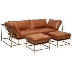 Waxed Potomac Tan Leather and Antique Brass Sofa Set