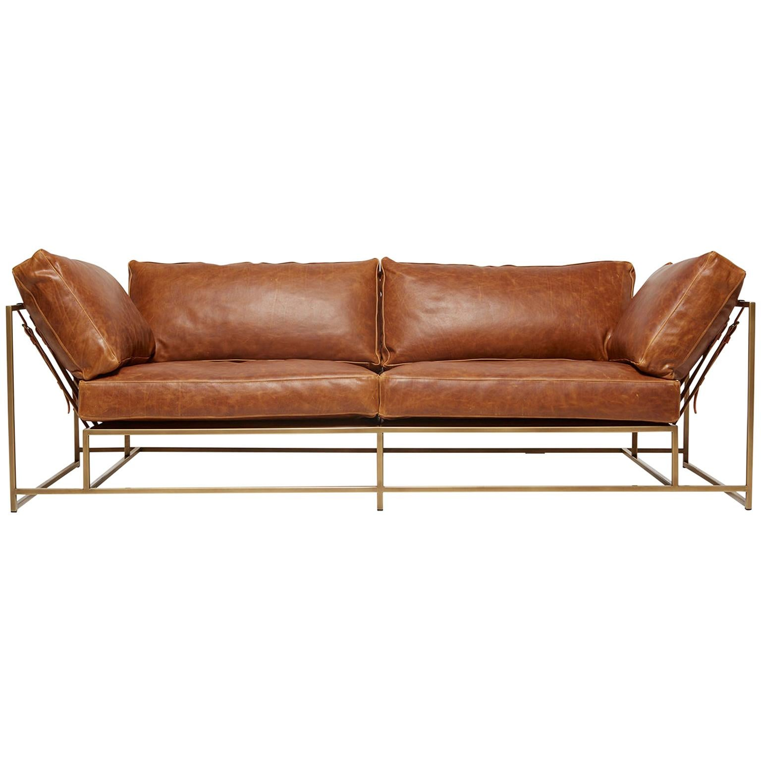 Waxed Potomac Tan Leather and Antique Brass Two-Seat Sofa