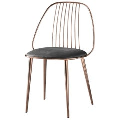 In Stock in Los Angeles, Waya Copper Finish Dining Chair and Black Econabuk Seat