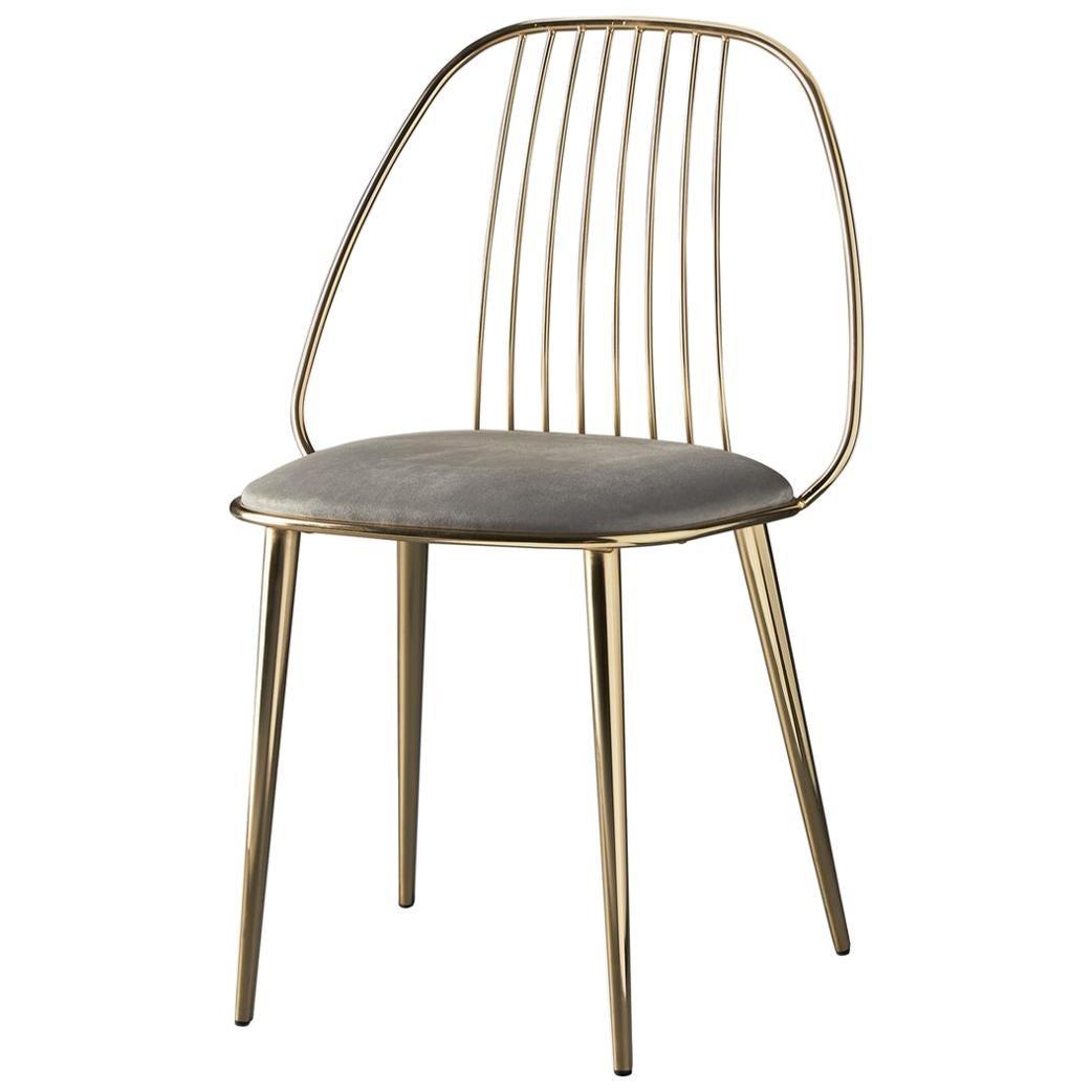 In Stock in Los Angeles, Waya, Gold Finish Dining Chair & Grey Econabuk Seat