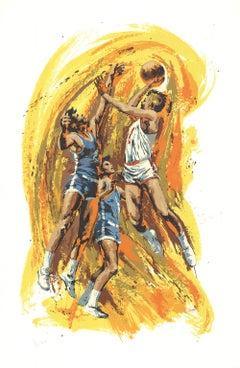 1978 Wayland Moore 'Jump Shot' Contemporary Multicolor USa Serigraph