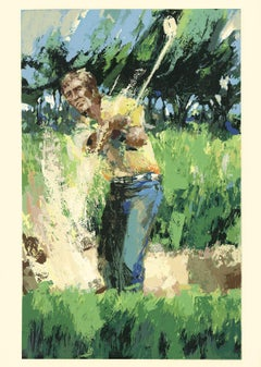 1985 Wayland Moore 'Arnold Palmer' Expressionism Green,Blue,Yellow USA Serigraph