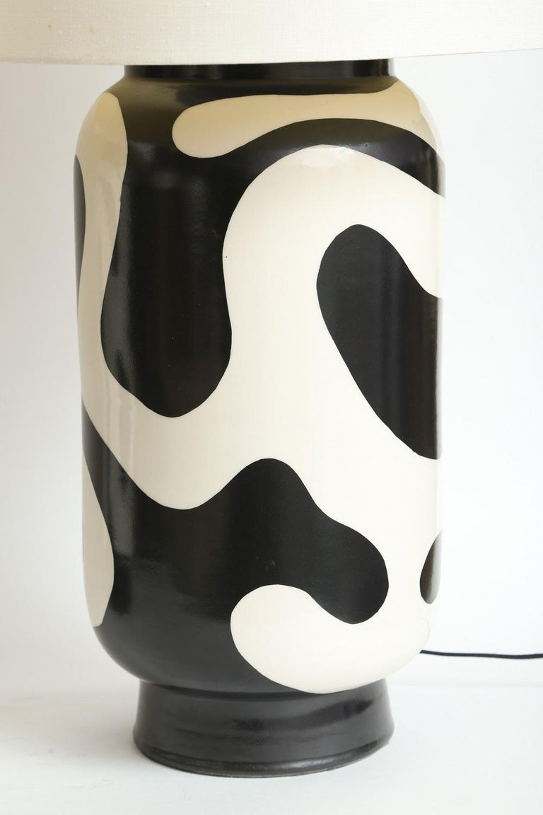 Peruvian Waylande Gregory Black and White Lava Large Chuby Lamp For Sale