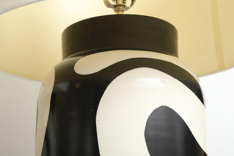 Ceramic Waylande Gregory Black and White Lava Large Chuby Lamp For Sale