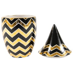 Waylande Gregory Studios Black and Gold Ceramic Jar