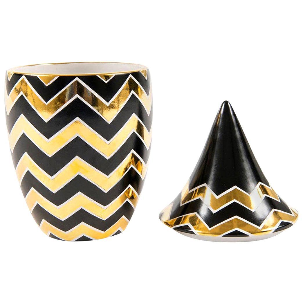Waylande Gregory Studios Black and Gold Ceramic Jar