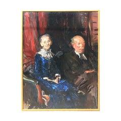 Dark Toned Impressionist Style Portrait of an Elderly Texas Couple