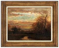 Wayne Beam Morrell Oil Painting On Board Fall Landscape Sunset Signed Framed Art