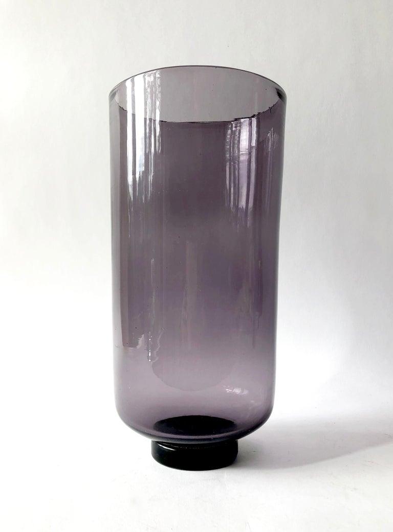 Wayne Husted for Blenko hand blown amethyst vase measures 11