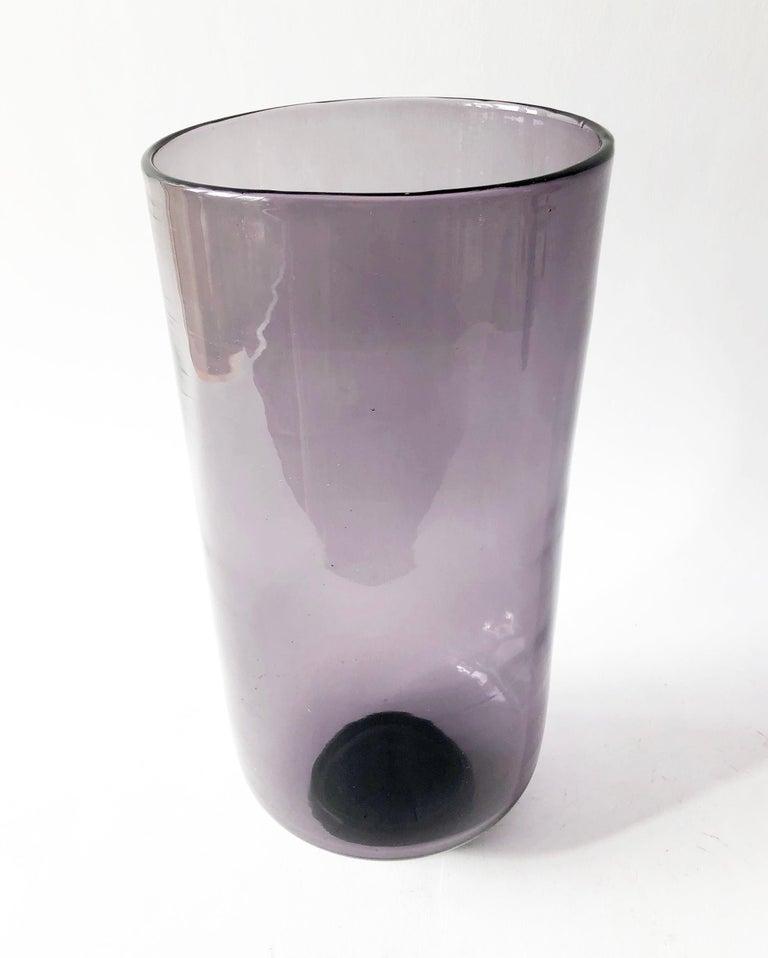 Mid-Century Modern Wayne Husted for Blenko Amethyst Hand Blown American Modernist Vase For Sale