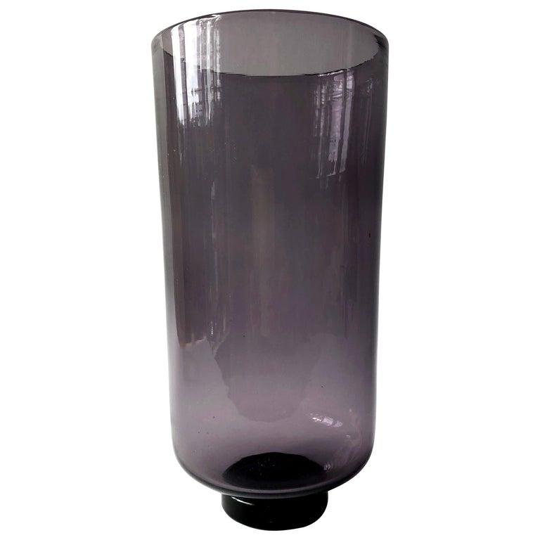 Wayne Husted for Blenko Amethyst Hand Blown American Modernist Vase For Sale