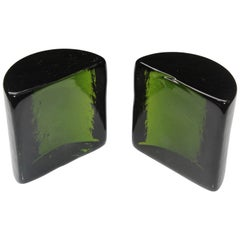Wayne Husted for Blenko Green Glass Bookends