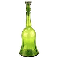 Wayne Husted for Blenko Mid-Century Modern Lime Green Glass Decanter