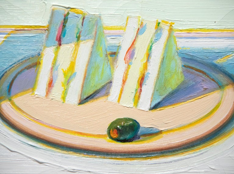 Milkshake & Sandwiches - Gray Figurative Painting by Wayne Thiebaud
