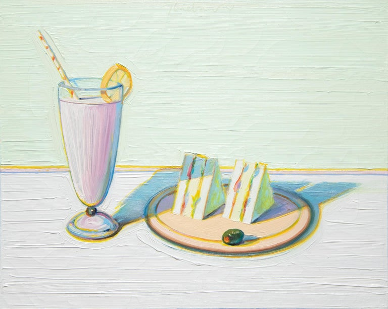 Wayne Thiebaud Figurative Painting - Milkshake & Sandwiches