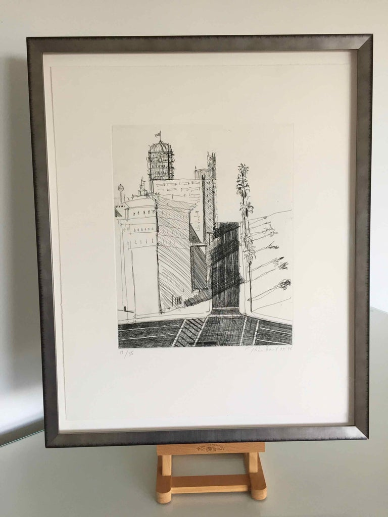 Hotel Corner: Limited Edition Etching by Wayne Thiebaud, dated 1979 - 1998 For Sale 1