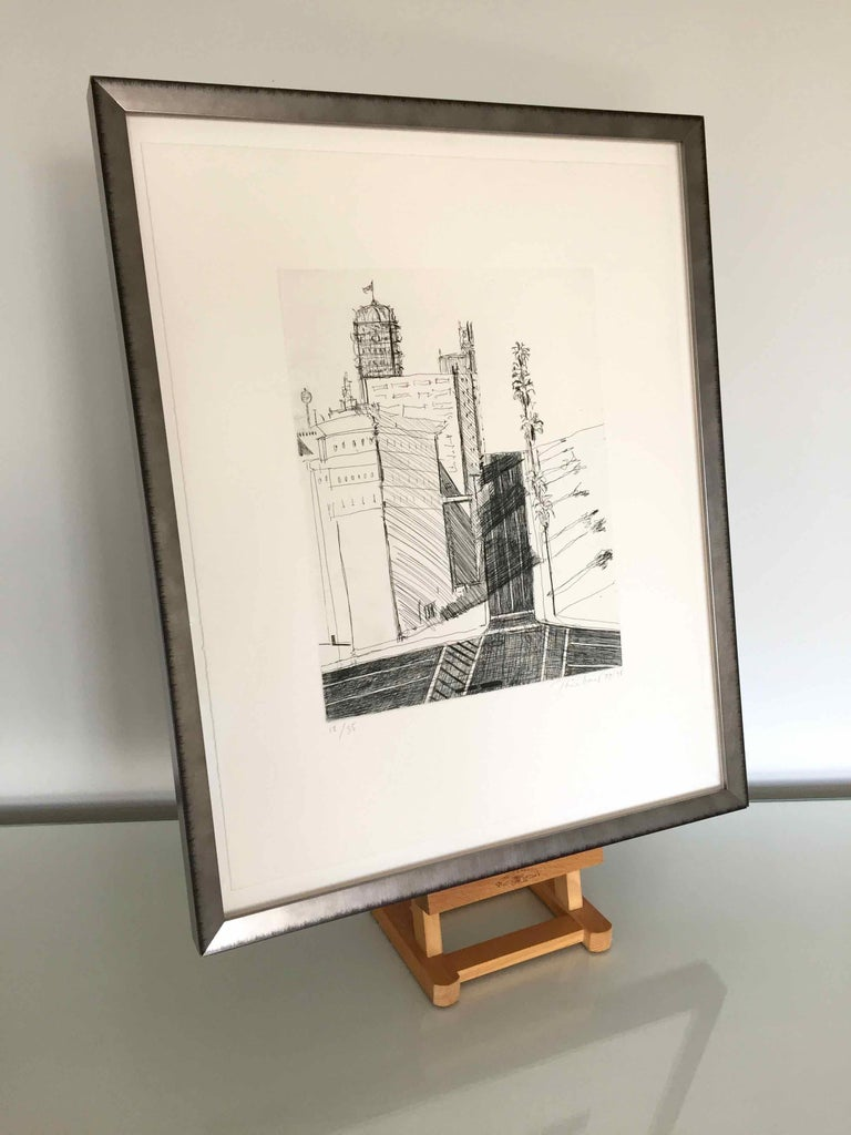 Hotel Corner: Limited Edition Etching by Wayne Thiebaud, dated 1979 - 1998 For Sale 2