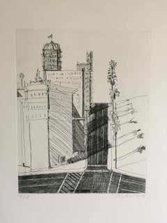 Hotel Corner: Limited Edition Etching by Wayne Thiebaud, dated 1979 - 1998