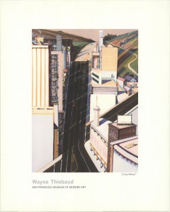 "WAYNE THIEBAUD Sunset Streets SIGNED 40"" x 32"" Giclee 1985 Pop Art Neutral"