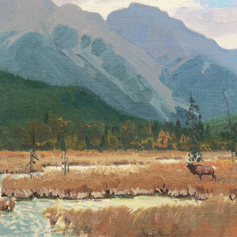 'Elk Grazing, Rocky Mountains', Colorado, Prix de West, Gilcrease Museum - Impressionist Painting by Wayne Wolfe