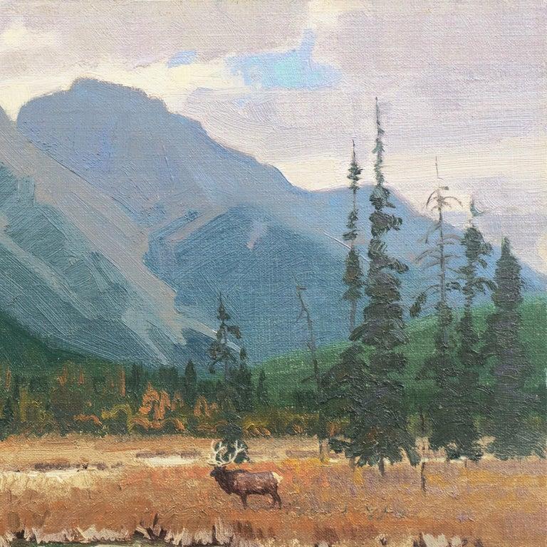 'Elk Grazing, Rocky Mountains', Colorado, Prix de West, Gilcrease Museum - Gray Landscape Painting by Wayne Wolfe