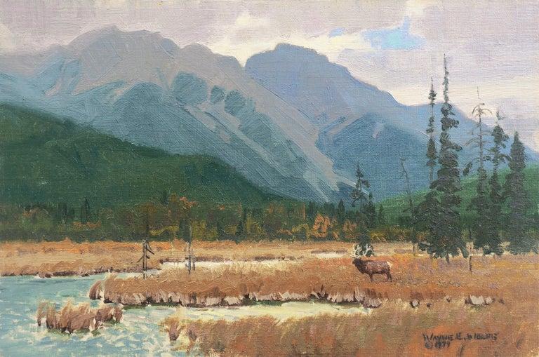 Wayne Wolfe Landscape Painting - 'Elk Grazing, Rocky Mountains', Colorado, Prix de West, Gilcrease Museum