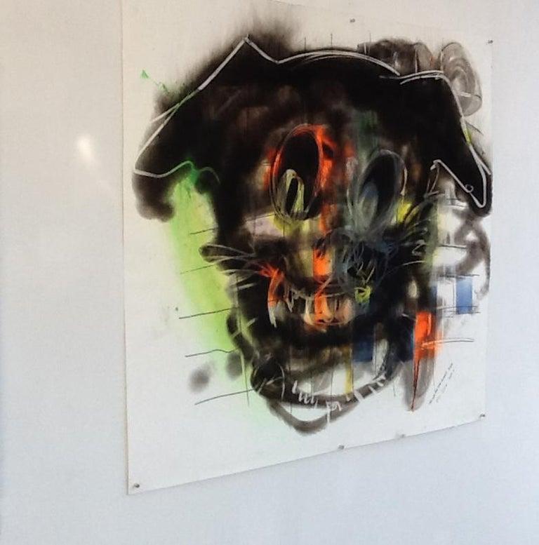 Dog, Carbon Smoke, Acrylic, Work on Paper, Pop Art - Painting by Wayne Zebzda