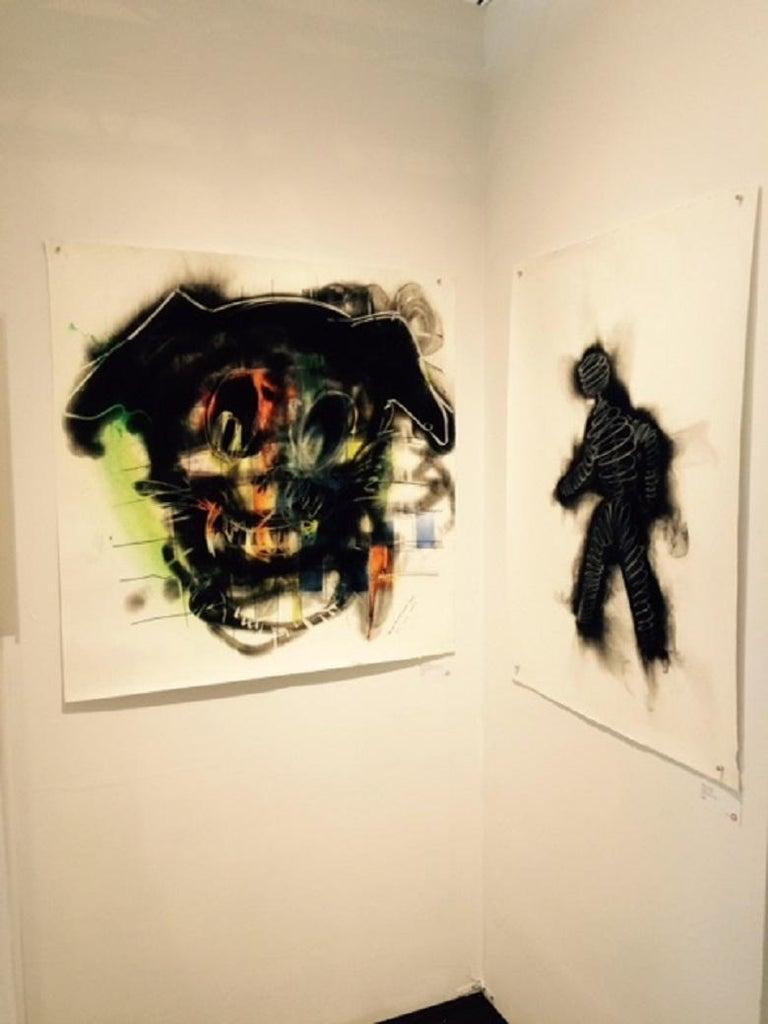 Dog, Carbon Smoke, Acrylic, Work on Paper, Pop Art - Contemporary Painting by Wayne Zebzda