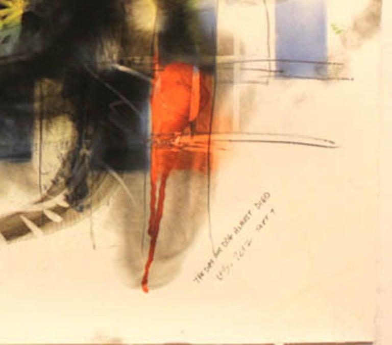 Dog, Carbon Smoke, Acrylic, Work on Paper, Pop Art - Beige Animal Painting by Wayne Zebzda
